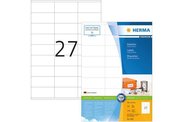 HERMA Universal-Etiketten 70x32mm 4450 weiss 2700 St. 100...