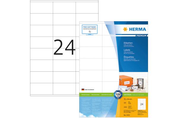 HERMA Universal-Etiketten 70x36mm 4453 weiss 2400 St. 100...