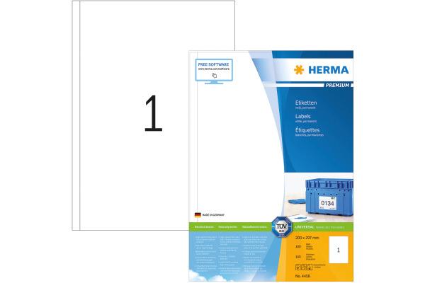 HERMA Universal-Etiketten 200x297mm 4458 weiss 100 St....