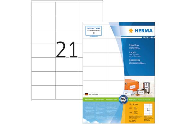 HERMA Universal-Etiketten 70x41mm 4473 weiss 2100 St./100...