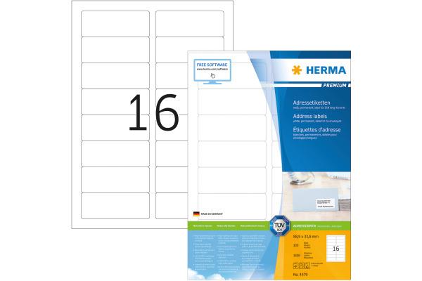 HERMA Etiketten Prestigemium 88,9×33,8mm 4479...