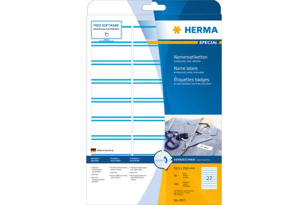 HERMA Namensetiketten 63,5x29,6mm 4513 weiss 540 Stk./20 Bl.