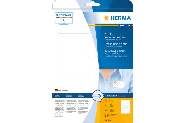HERMA Namensetiketten 80x50mm 4514 weiss 200 Stk./20 Bl.