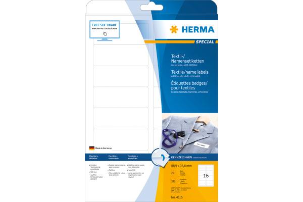 HERMA Namensetiketten 88,9x33,8mm 4515 weiss 320 Stk./20 Bl.