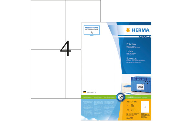 HERMA Universal-Etiketten 105x148mm 4676 weiss 400...