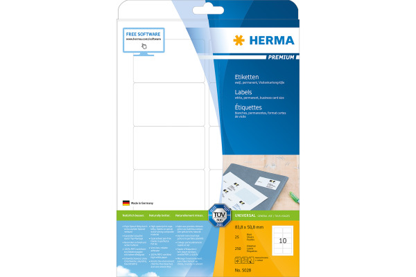 HERMA Etiketten Visitenkartengrösse 5028 weiss, 250 Stück 10 Blatt