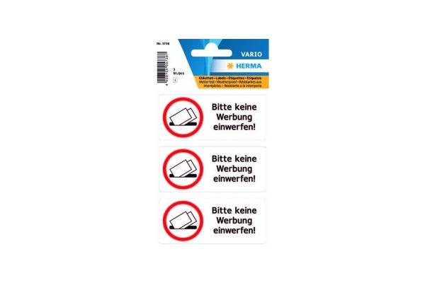 HERMA Hinweis-Etiketten 5738 keine Reklame 3 Stück
