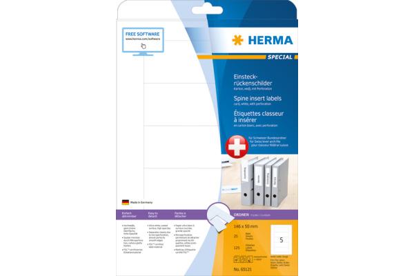 HERMA Einsteckrücken breit 146x50mm 65121 weiss 125Stk/ 25Blatt
