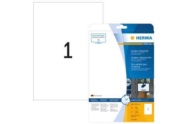 HERMA Outdoor EtikettenPP 210x297mm 9500 weiss 10 St. 10 Blatt