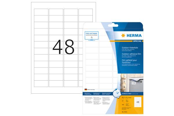 HERMA Outdoor EtikettenPP 45,7x21,2mm 9531 weiss 480 St. 10 Blatt
