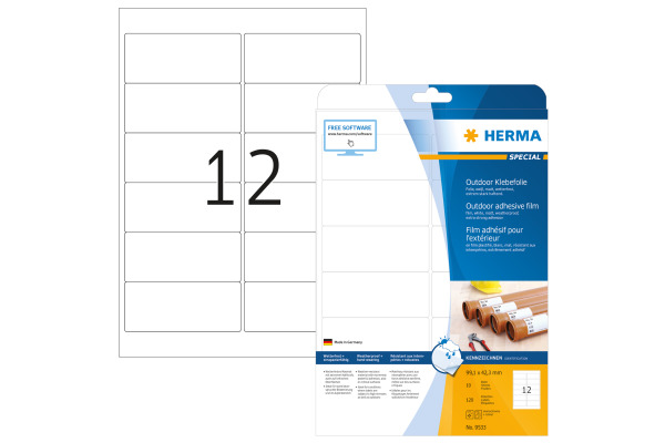 HERMA Outdoor Etikett.PP 99,1x42,3mm 9533 weiss 120 St./10 Blatt