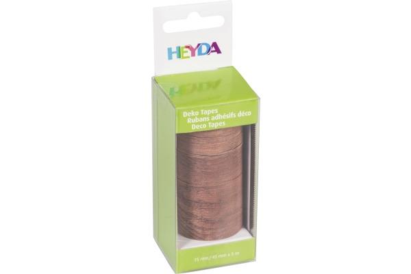 HEYDA Deko Tape Holz 203584365 1x 15mmx5m, 1x45mmx5m 2 Rollen