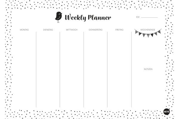 HEYE Weekly Planner Dots 840163906 DE, 29.5x21cm,