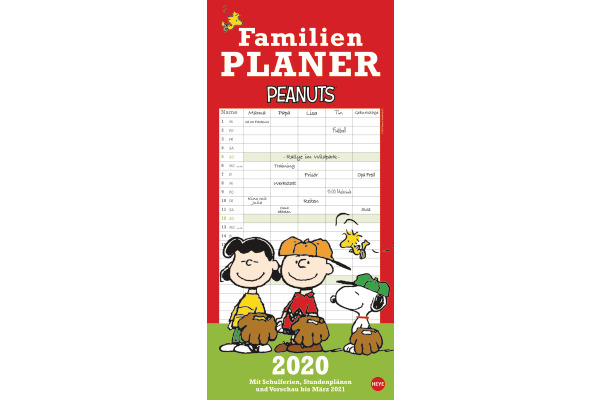 HEYE Familienplaner Peanuts 840170188 DE, 21x45cm, 2020