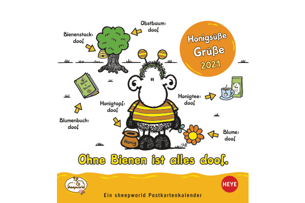 HEYE Postkartenkalender Sheepworld 840175985 DE,16 X 17cm,2021