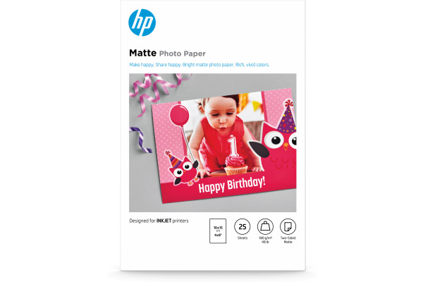 HP HP Matte Photo Paper 10x15cm 7HF70A InkJet, 180g 25 Blatt