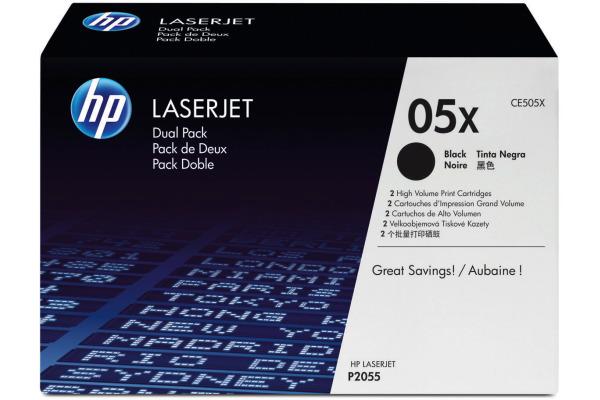 HP Toner-Modul 05X schwarz CE505XD LaserJet P2055 2 Stück