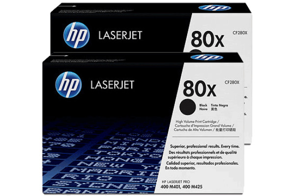 HP Toner-Modul 80X schwarz CF280XD LaserJet Pro 400 2 Stück