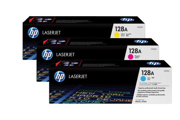 HP Toner Tri-Pack 128A CMY CF371AM Color LJ Pro CM1415...