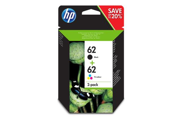 Pack cartouches Originales HP 62 noir et couleur (HP N9J71AE)
