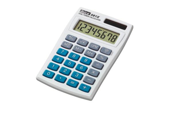 IBICO Taschenrechner 081X IB410000 8-stellig grau/blau