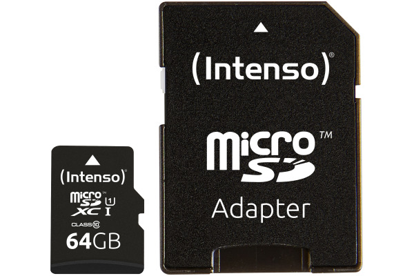 INTENSO Micro SDXC Card PREMIUM 64GB 3423490 with adapter, UHS-I