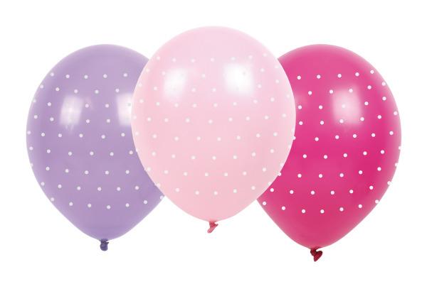 JABADABAD Luftballons Punkten B2004 pink/rosa/violett, 6 Stück
