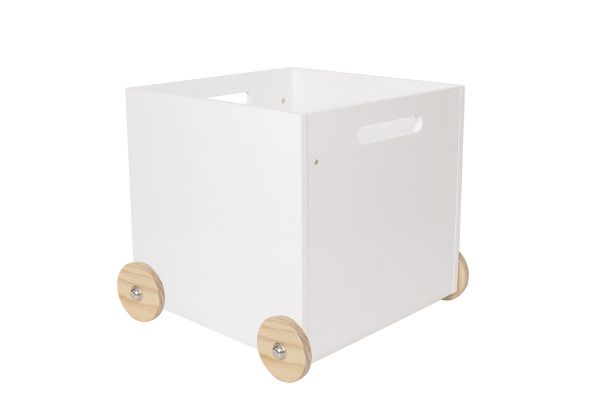 JABADABAD Aufbewahrungsbox auf Rädern H13214 gross, weiss 37x37x40cm