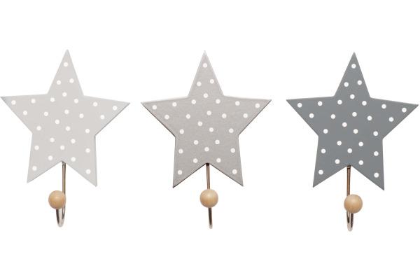 JABADABAD Wandhaken Sterne R16016 grau 16x11.5x8cm