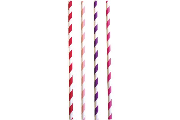 JABADABAD Trinkhalm Z17040 pink/rosa/rot/violett, 24 St.