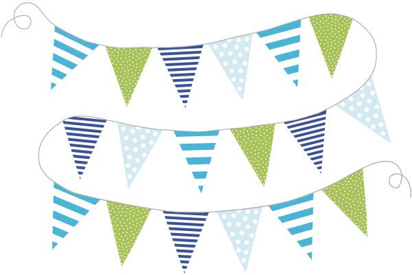 JABADABAD Wimpelkette Z17051 hellblau/blau/türkis/grün
