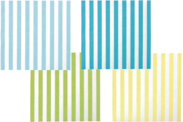 JABADABAD Servietten Streifen Z17121 blau, 16.6x16.5cm 20 Stück