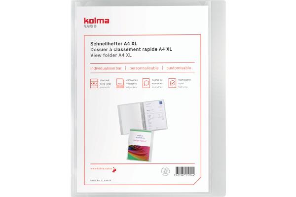 KOLMA Schnellhefter Vario A4 XL 11.009.00 transparent,KolmaFlex 40 Taschen