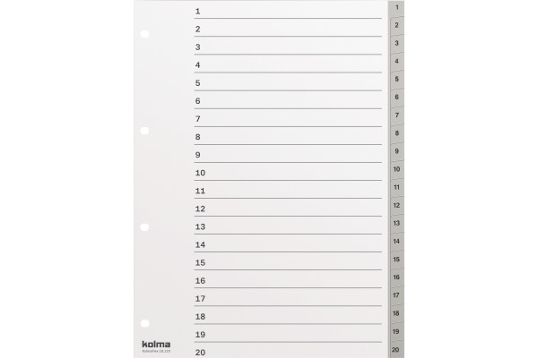 KOLMA Register Kolmaflex A4 18.120.03 grau, 20-teilig
