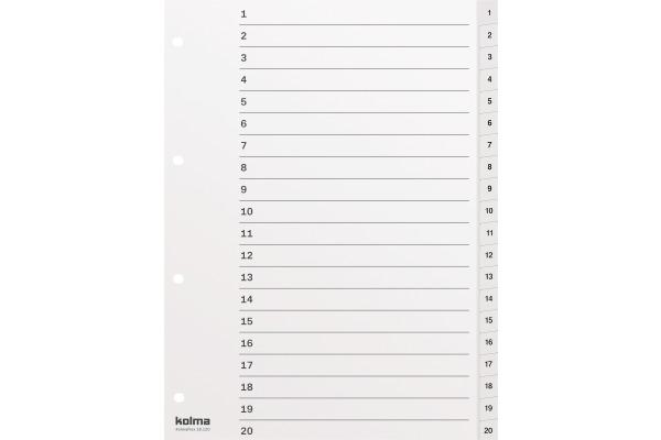 KOLMA Register KolmaFlex A4 18.120.16 weiss, 1-20, 4-Loch