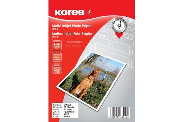 KORES InkJet Fotopap. matt 180g A4 FX800.50 5760 dpi, instant dry 50 Blatt