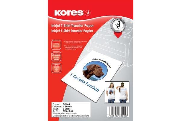KORES T-Shirt Transferpap. InkJet A4 FX810.05 für helle Textilien 5 Blatt