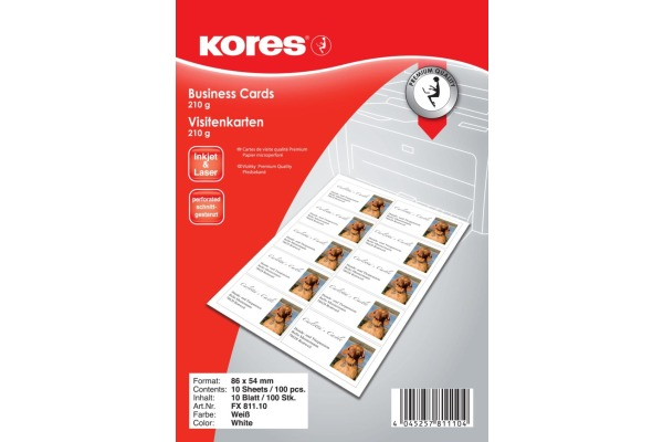 KORES Visitenkarten doppels. 86x54mm FX811.10 InkJet 210g 10 Bl. à 10 Karten