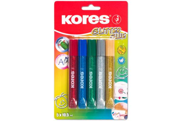 KORES Bastelkleber GLITTERGLUE K75000 5 Farben à 10.5ml