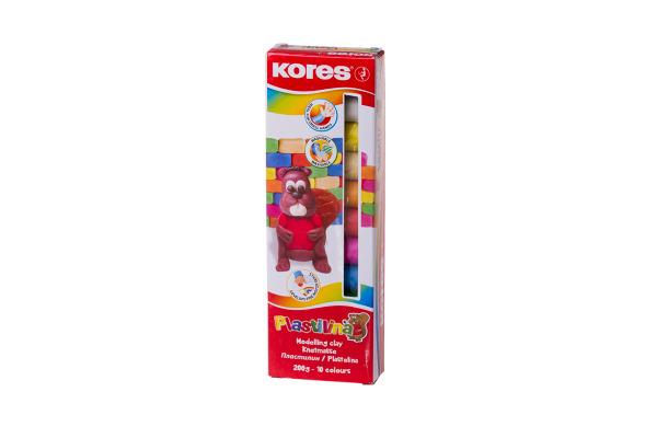 KORES Knetmasse Plastilina KM34010 10-farbig à 20g