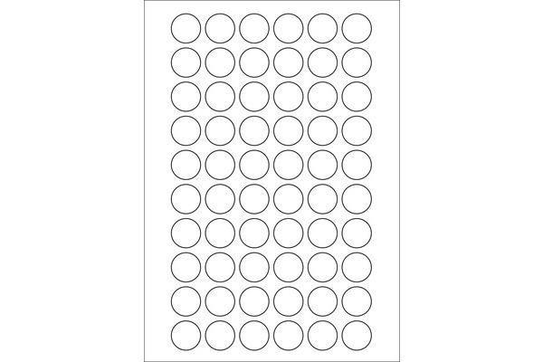 KORES Universal-Etiketten rund 24mm LR024 weiss 100 Bl. à 60 Stck.