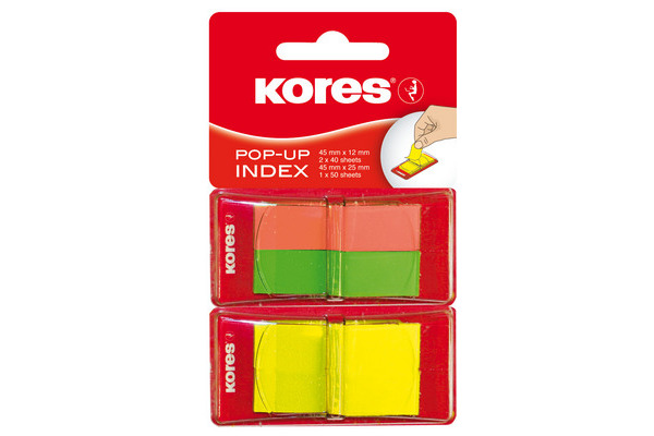 KORES POP-UP INDEX 45x12/25mm N45126 rot,grün,gelb/2x40/1x50 Bl.