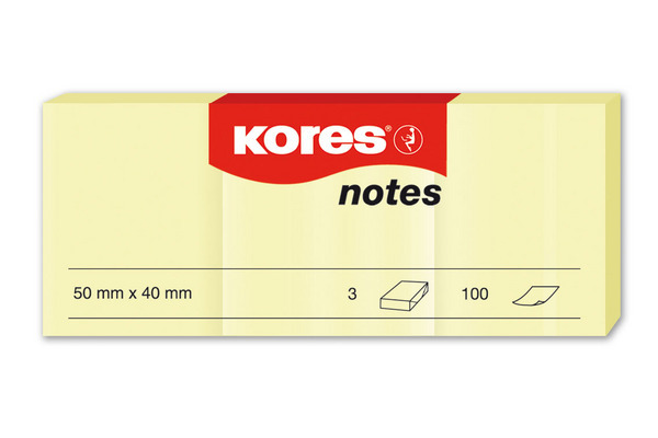 KORES NOTES 50x40mm N46050 gelb/3x100 Blatt