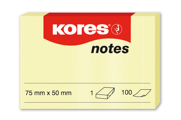 KORES NOTES 50x75mm N46057 gelb/100 Blatt