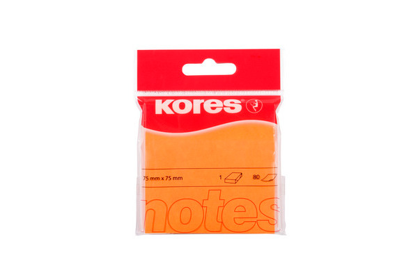 KORES NOTES 75x75mm N47074 neon-orange/80 Blatt
