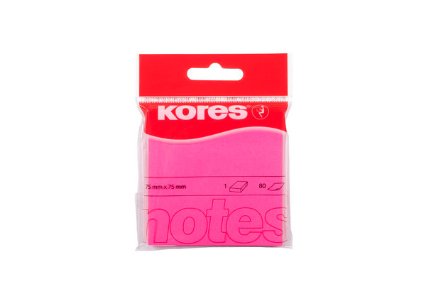 KORES NOTES 75x75mm N47075 neon-pink/80 Blatt