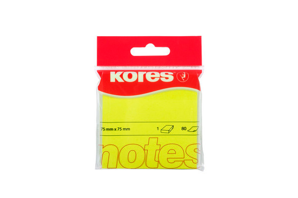KORES NOTES 75x75mm N47076 neon-gelb/80 Blatt