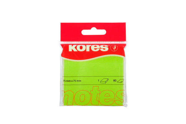 KORES NOTES 75x75mm N47077 neon-grün 80 Blatt