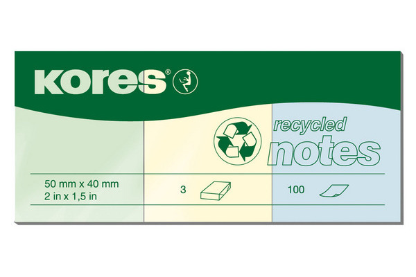 KORES NOTES recycling 50x40mm N47350 3-farbig ass./3x100 Blatt