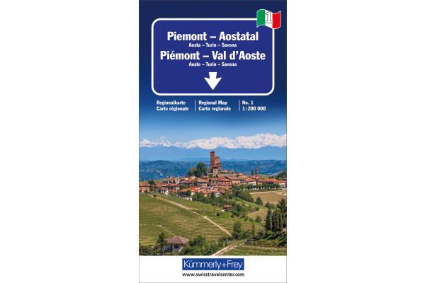 KÜMMERLY Strassenkarte 325901471 Aostatal-Piemont 1:200´000